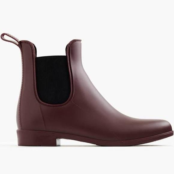 J Crew Shoes Jcrew Burgundy Matte Chelsea Rain Boots Poshmark